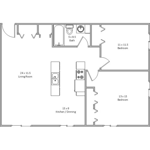 Bloomington, MN, two bedroom, heat included, air conditioning, bathroom, kitchen, living room, apartment, mall of america